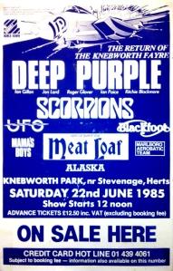 deep purple knebworth 1985 poster
