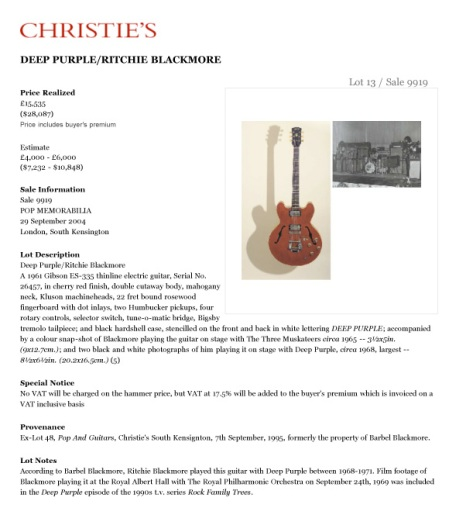 Blackmore Gibson 335 sales sheet