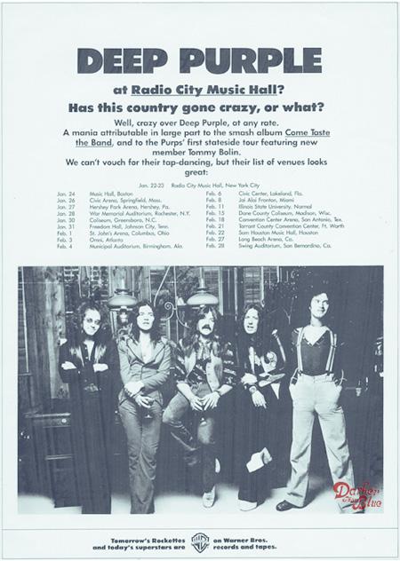 Deep Purple tour advert America 1976