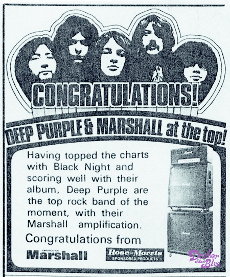 deep purple and marshall amplification 1970 press advert