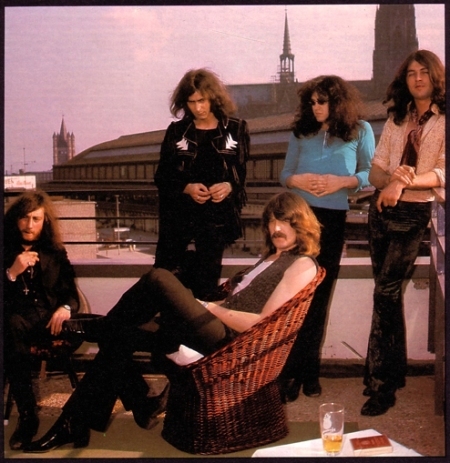 Deep Purple hotel roof opposite Cologne station and cathedral 1970