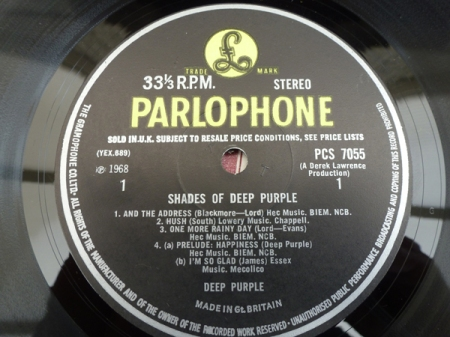 deep purple shades of deep purple first pressing parlophone label