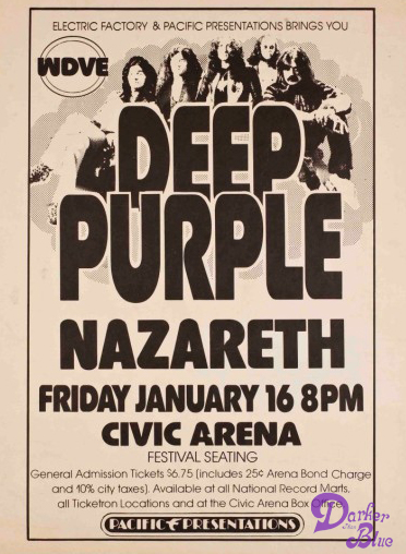 Deep Purple 1976 Pittsburgh Poster - Jan 16. 76