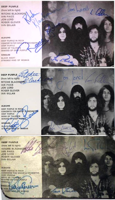 Fake Deep Purple autographs