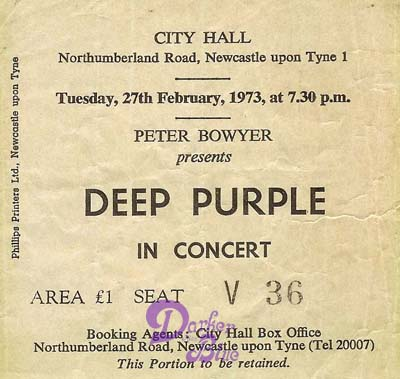 Deep Purple Newcastle 1973 ticket