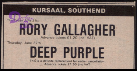 Rory Gallagher and Deep Purple, Southend Kursaal, 1974