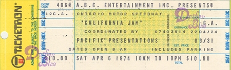 California Jam 1974 Deep Purple ticket