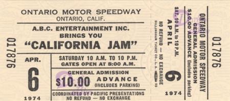 California Jam 1974 Deep Purple ticket