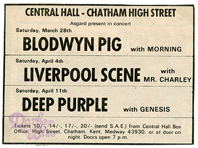 Deep Purple 1970 chatham Genesis support
