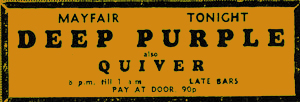 Deep Purple and Quiver advert 1971