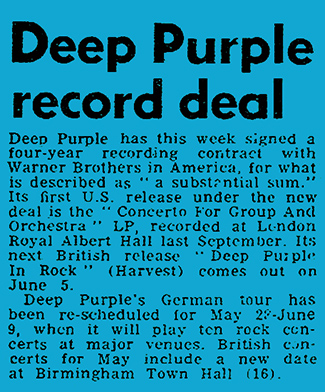 Deep Purple In Rock release June 1970