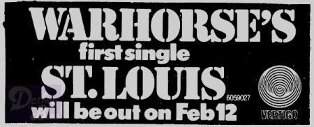 Nick Simper Warhorse Feb 1971 single St Louis advert
