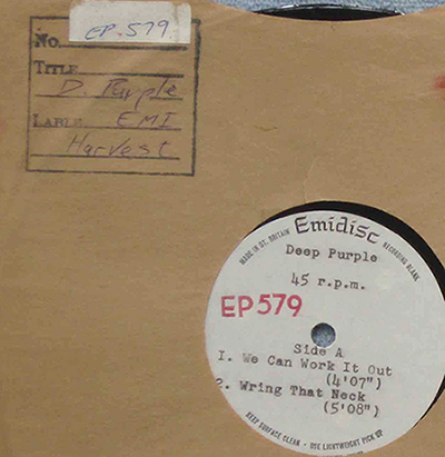 "Deep Purple acetate We Can Work It Out 8"" EMI"
