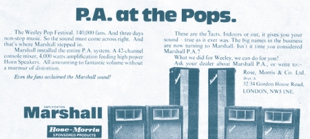 Marshall amps Weeley Festival 1971 advert
