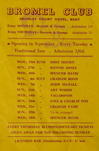 The Artwoods Bromel Club flyer 1965 Jon Lord