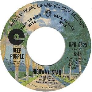Deep Purple Highway Star US single