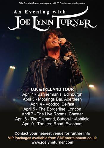 Joe Lynn Turner UK tour april 2015
