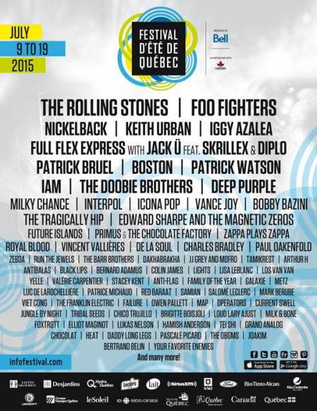 Deep Purple Quebec July 2015 festival flyer