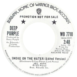 Smoke On The Water American promotion label 1973