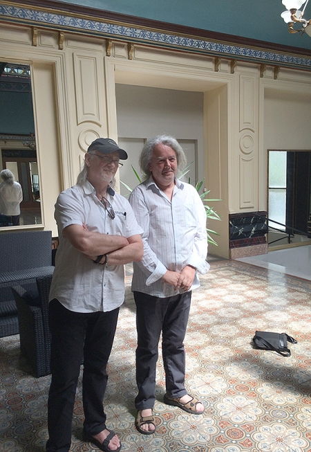 Roger Glover and Simon Robinson in the Grand Hotel Montreux