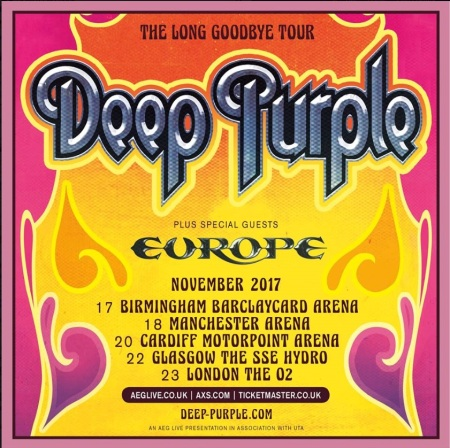 Deep Purple Long Farewell tour flyer 2017