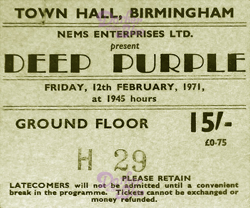 Deep Purple Birmingham Feb 1971
