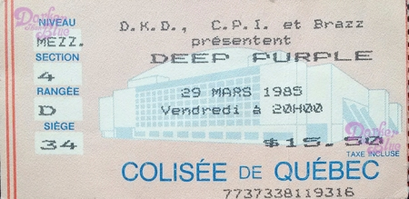 Deep Purple March 1985 tickets Canada sent by Vince Chong